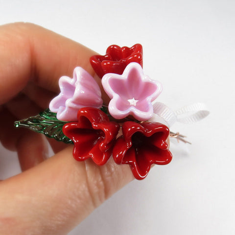 Red Pink glass miniature flower bouquet - Elise Thomas Designs