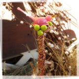 Custom glass bird and berries plant stake - Elise Thomas Designs