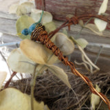 Turquoise glass bird potted plant stake - Elise Thomas Designs