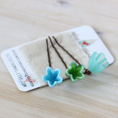 Set of 3 Emerald green, Sky blue and Aqua blue, flower bobby pins - Elise Thomas Designs