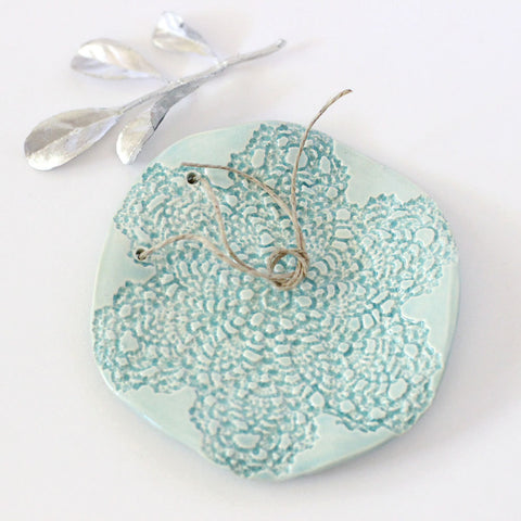 Ceramic Aqua lace ring bearer pillow alternative - Elise Thomas Designs