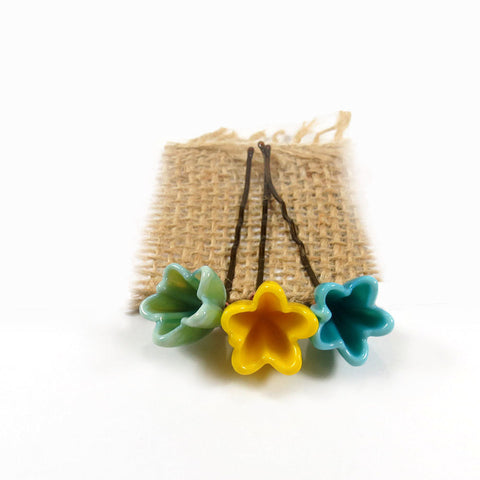 Mint green, Aqua blue, Lemon yellow flower hair pins, set of 3 - Elise Thomas Designs