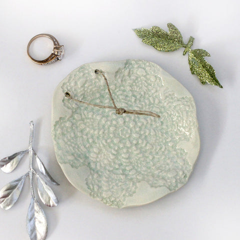 Mint lace wedding ring bearer pillow alternative - Elise Thomas Designs