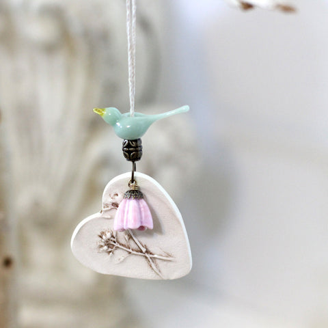 Mint bird ornament, Ceramic bird heart ornament - Elise Thomas Designs