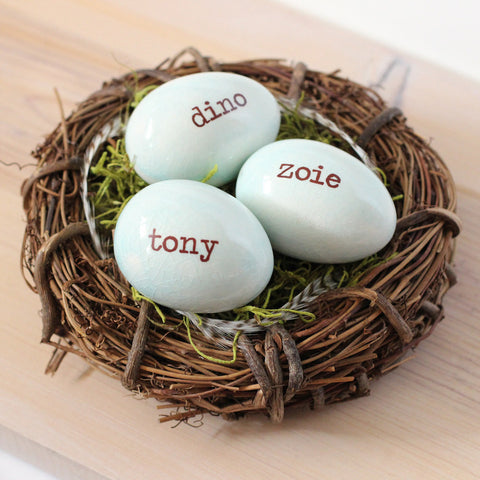 3 Custom personalized name eggs nest - Elise Thomas Designs