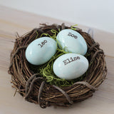 Personalized custom name eggs in nest - Elise Thomas Designs