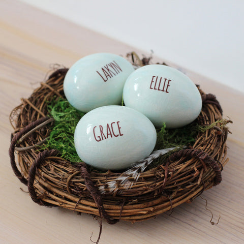 1-4 Personalized name eggs in nest - Elise Thomas Designs