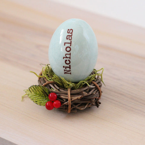 Personalized name egg and date ornament new baby gift - Elise Thomas Designs