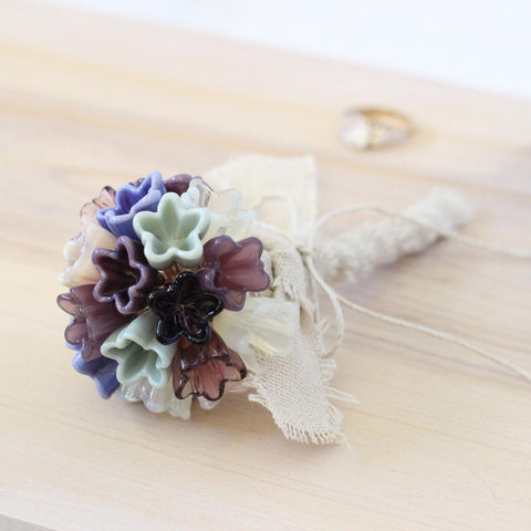 Handmade Purple flower girl bouquet or alternative wedding bouquet - Elise Thomas Designs