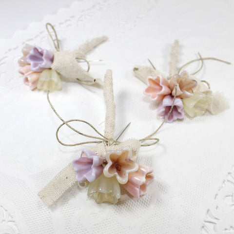 Rustic pink flower boutonnieres or lapel flower corsages - Set of 3