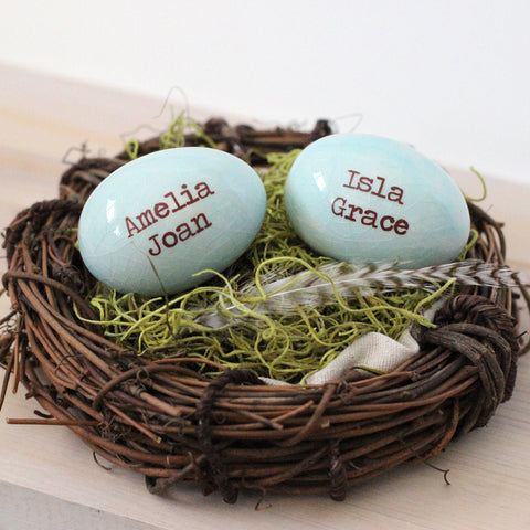 Mothers Nest gift for mom or grandma, 2 personalized name eggs in nest - Elise Thomas Designs