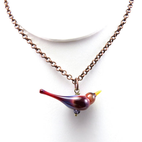Custom glass bird necklace for bird lovers - Elise Thomas Designs