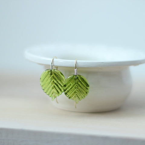 Green leaf earring gold earrwires - Elise Thomas Designs