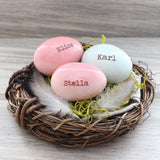 3 Custom personalized name eggs nest