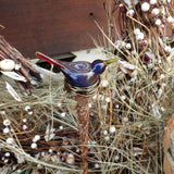 Purple glass bird garden art plant stake
