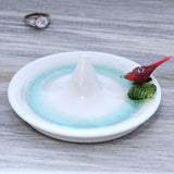 red bird ring holder