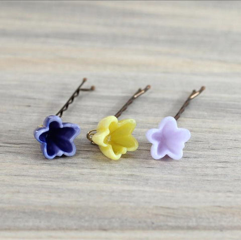 Yellow, lavender, and lilac Flower bobby pins set for brides, flower girls, bridesmaids