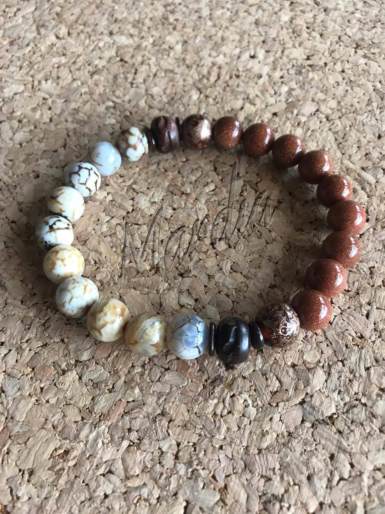 Dragon Agate and Goldstone Men's Bracelet