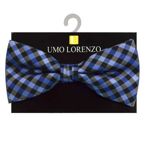 Blue and Black Plaid Bow Tie