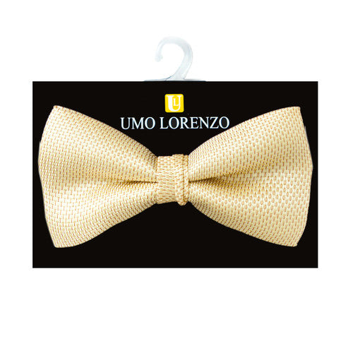 Basket Weave Yellow Banded Bow Tie