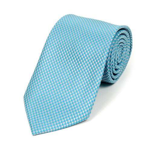 Turquoise Hounds Tooth Pattern Tie