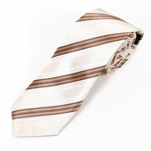 Cream and Brown Slim Tie
