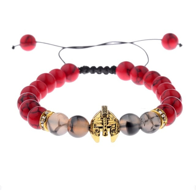 Gold And Red Warrior Helmet Stone Bracelets