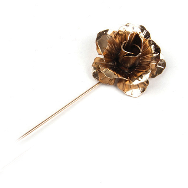 Gold Metallic Floral Lapel Pin