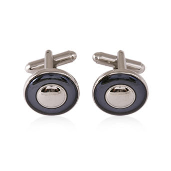 Circle Slate Enamel Rhodium Cufflinks