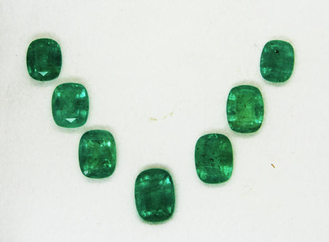 10.28 Ct / 7 Pcs Fine Natural Emerald Cushion Necklace Zambia UnTreated LooseGem Stone