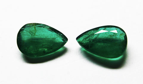 10.32 Ct / 2Pcs Fine Natural Emerald Pear pair Zambia UnTreated Loose GemStone - RareGem.IN