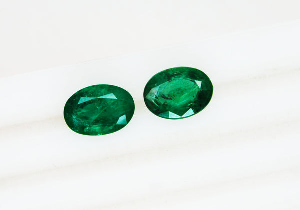 10.65 Ct / 2 Pcs Fine Natural Emerald Oval Pair Zambia UnTreated Loose GemStone - R A R E G E M . I N