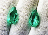 10.98 Ct / 2 Pcs Fine Natural Emerald Pear Russian UnTreated Loose GemStone - RareGem.IN