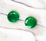 10.50 Ct / 2Pcs Fine Natural Emerald Round pair Zambia UnTreated Loose GemStone