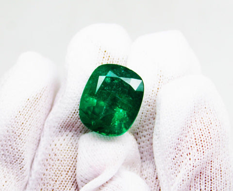 11.17 Ct Fine Natural Emerald Cushion Zambia UnTreated LooseGem Stone