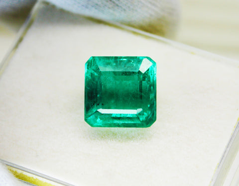 11.39 Ct  Fine Natural Emerald Square Octagon Zambia UnTreated Loose Gemstone