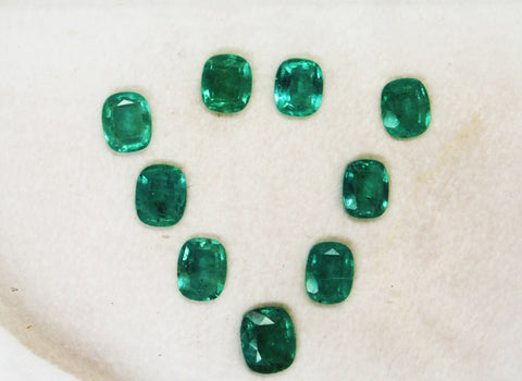 11.57 Ct / 9 Pcs Fine Natural Emerald Cushion Necklace Zambia UnTreated Loose GemStone