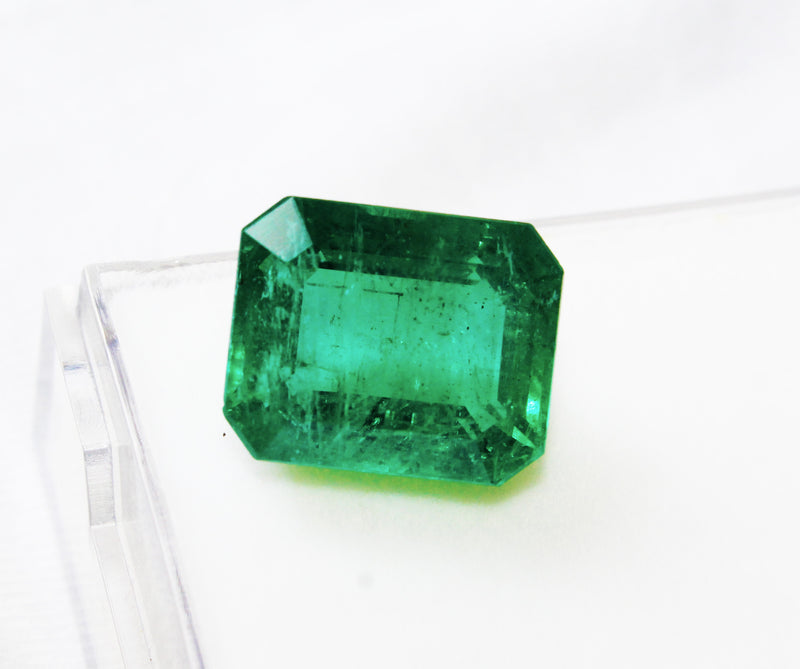 11.59 Ct Fine Natural Emerald Octagon Zambia UnTreated Loose GemStone - R A R E G E M . I N
