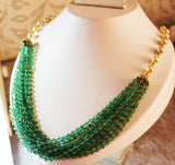5000$ Fine Natural Emeralds & Pearls Necklace Studded in Gold 18K - RareGem.IN - 10