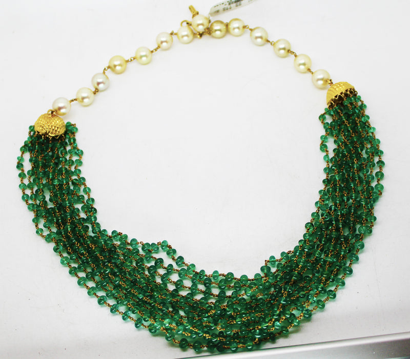 5000$ Fine Natural Emeralds & Pearls Necklace Studded in Gold 18K - R A R E G E M . I N