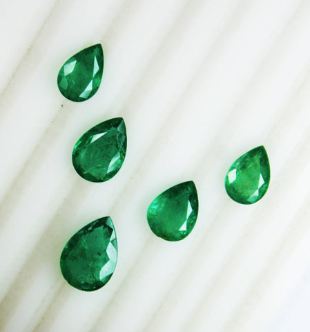 11.24 Ct / 5 Pcs Fine Natural Emerald Pear Necklace Zambia UnTreated LooseGemStone