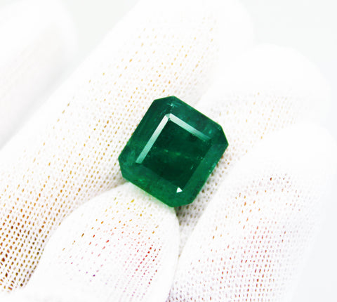 11.30 Ct Fine Natural Emerald Square Octagon Zambia UnTreated LooseGem Stone