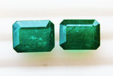 12.40 Ct / 2 Pcs Fine Natural Emerald Octagon Pair Zambia UNTreated LooseGem Stone