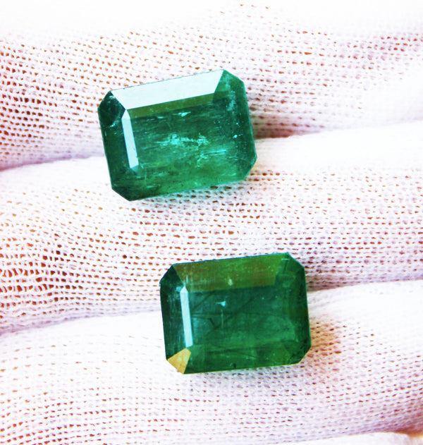 12.40 Ct / 2 Pcs Fine Natural Emerald Octagon Pair Zambia UNTreated LooseGem Stone - R A R E G E M . I N