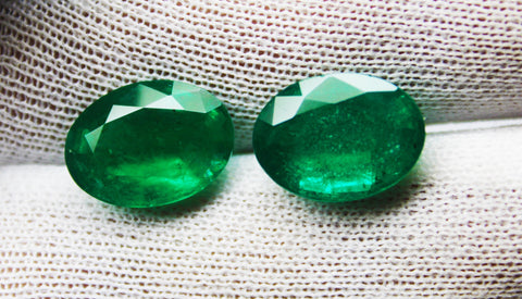 12.46 Ct / 2 Pcs Fine Natural Emerald Oval Zambia UN Treated  LooseGem Stone