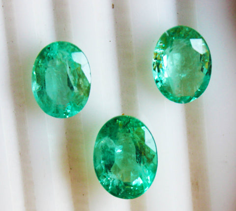 12.86 Ct / 3 P cs Fine Natural Emerald Oval Russian UN Treated LooseGem Stone