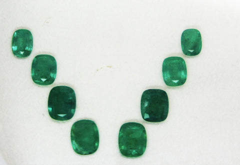 12.96 Ct / 8 Pcs Fine Natural Emerald Cushion Necklace Zambia UnTreated LooseGem Stone