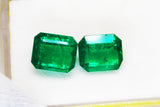 12.21 Ct / 2 Pcs Fine Natural Emerald Square Octagon Zambia UnTreated LooseGemStone