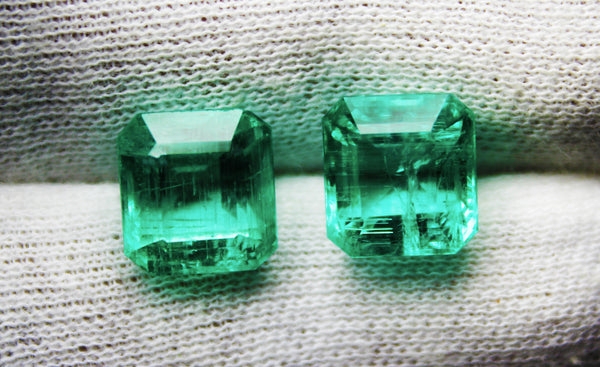 13.86 Ct/2 Pcs Fine Natural Emerald Octagon Pair Russian UnTreated Loose GemStone - R A R E G E M . I N