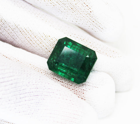 15.11 Fine Natural Emerald Octagon Zambia UnTreated Loose GemStone